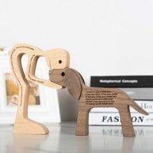 Menschliches und Frau Holz Hund Handwerk Figurine Holz Carving Modell Kreative Home Büro Dekoration Desktop Tisch Ornament Familie Welpen