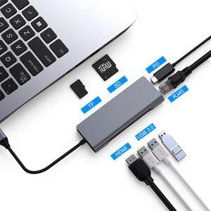 Image 1 - FSU USB C HUB Mit HDMI RJ45 PD Ladegerät Kartenleser USB 3,0 Adapter USB HUB Für Macbook Pro Zubehör multi USB 3,0 Typ C HUB