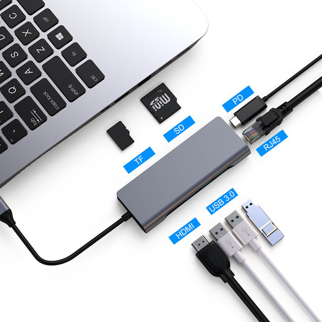 FSU USB C HUB Mit HDMI RJ45 PD Ladegerät Kartenleser USB 3,0 Adapter USB HUB Für Macbook Pro Zubehör multi USB 3,0 Typ C HUB