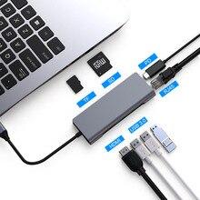 FSU USB C HUB avec HDMI RJ45 PD chargeur lecteur de carte USB 3.0 adaptateur USB HUB pour Macbook Pro accessoires Multi USB 3.0 Type C HUB
