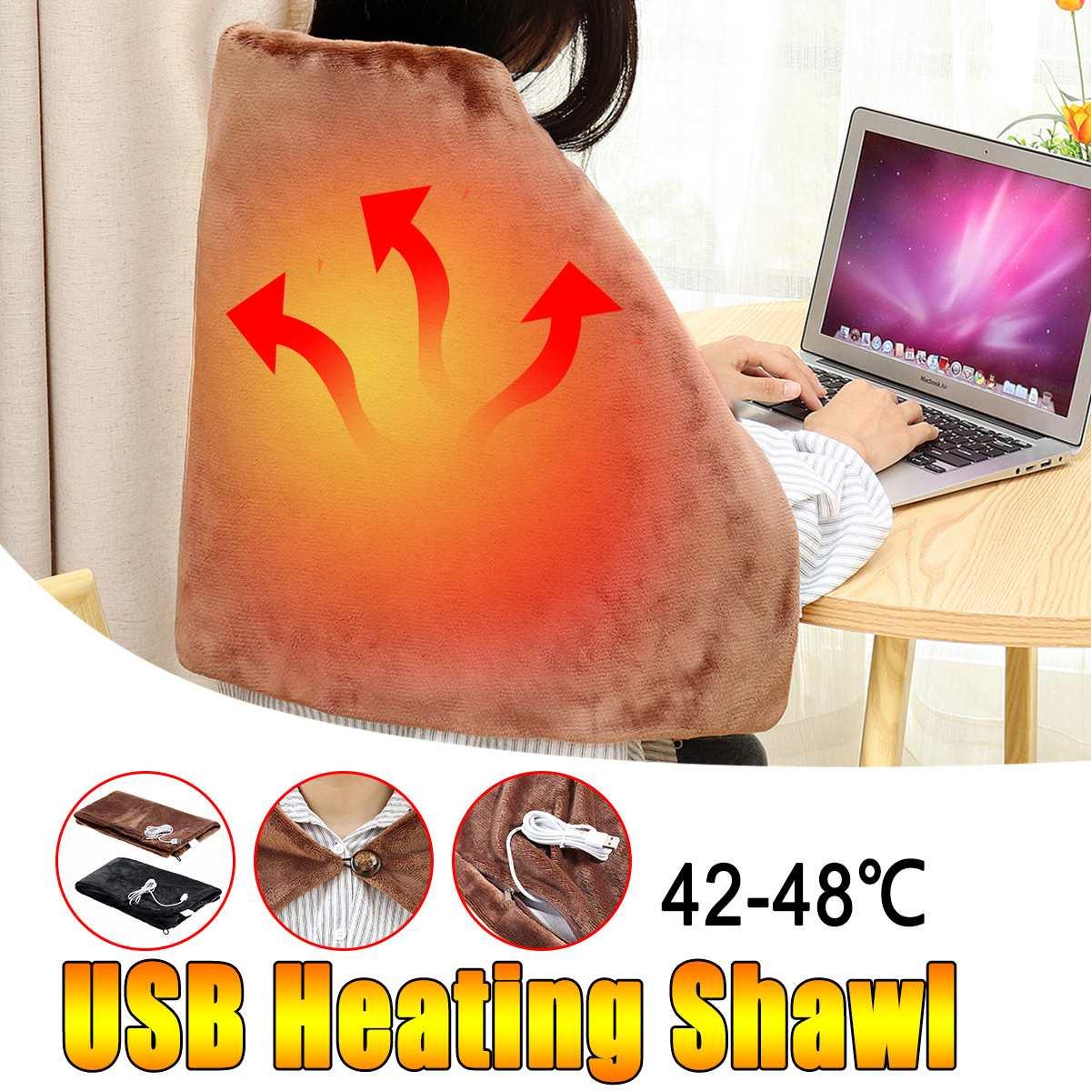 45x80CM 5V 4W Warm Care Car Home Electric Warming Heating Blanket Pad Shoulder Neck Mobile-Heating Shawl USB Advance Soft Plush