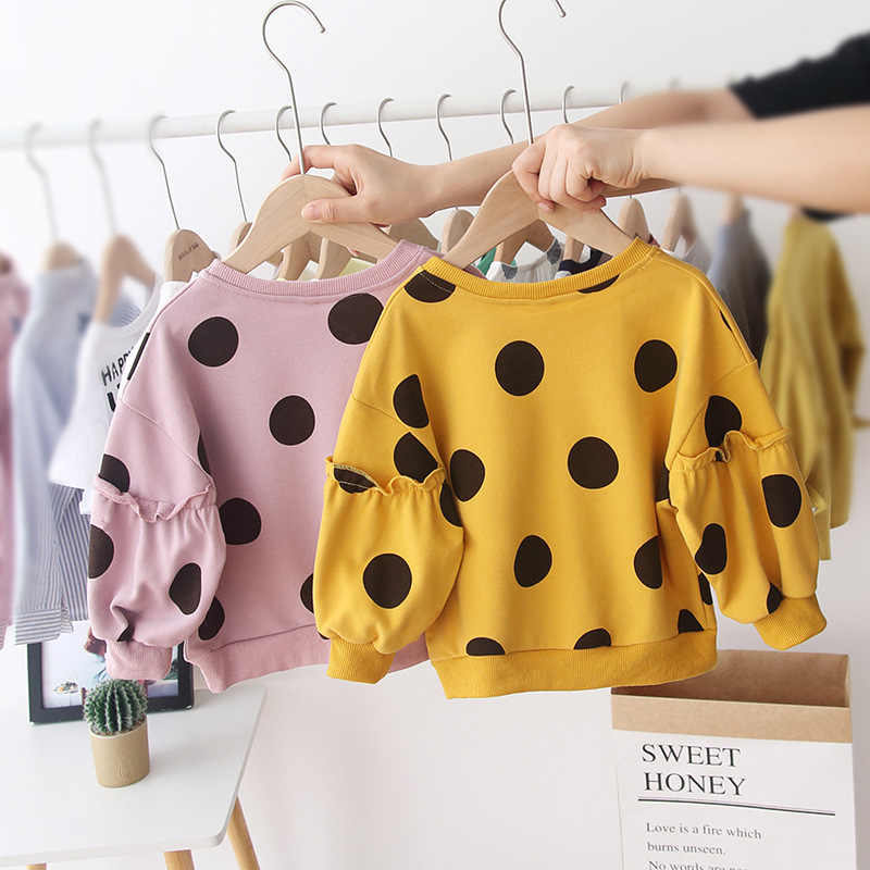 1-6Y Herbst Reizendes Kind Baby Mädchen Sweatshirt Tops Dot Print Lange Laterne Hülse Pullover Kausal Outfits Kleidung