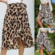 Женская шифоновая юбка с леопардовым принтом длинная высокой