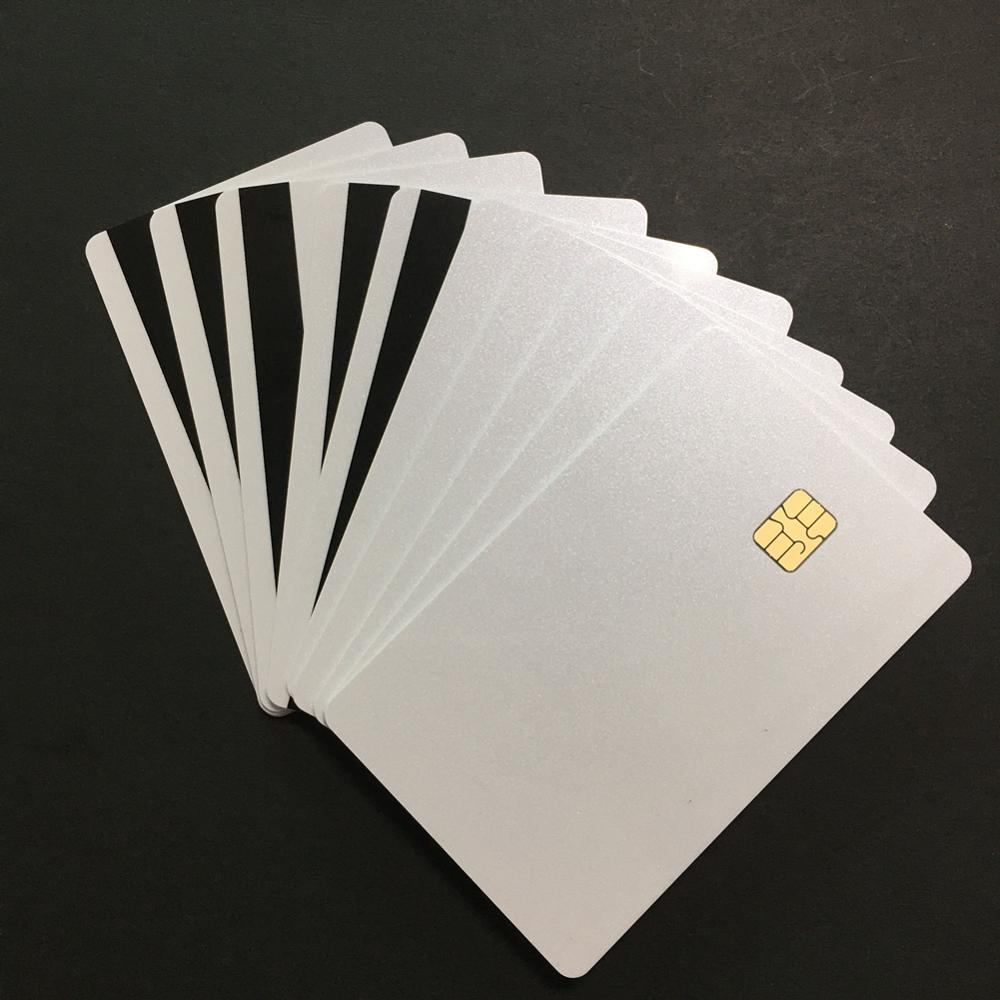 20pcs  SLE4442 With Small HiCO Magstripe Pearl White Shines Smart Credit Card Size PVC Card