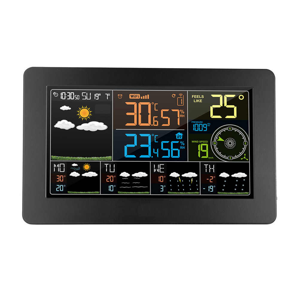 Multifunktionale Farbe WiFi Digitale Indoor Outdoor Thermometer Hygrometer APP Steuerung Smart Wetter Station Monitor