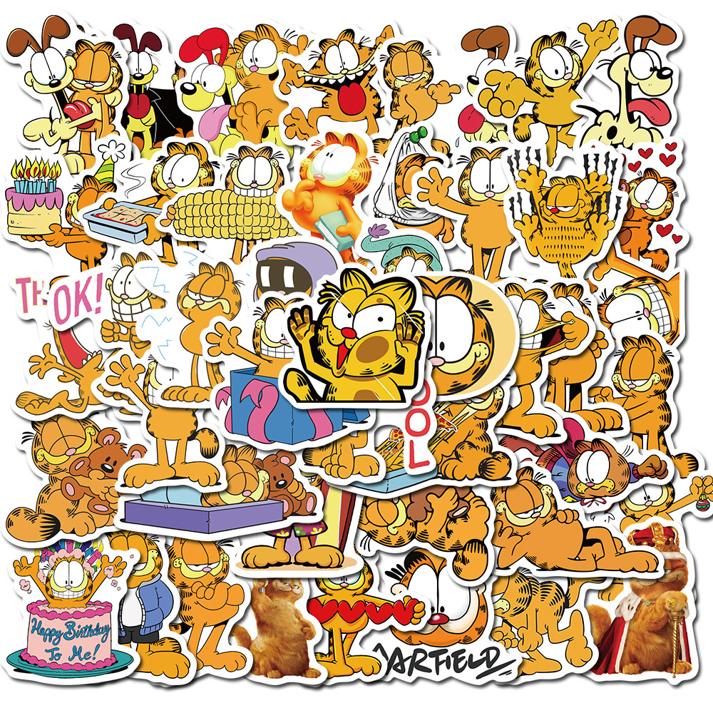 50PCS Cute Garfield Waterproof Sticker for Skateboard Hydro Flask Laptop Suitcase Decal Animal Cartoon Cat Wall Stickers