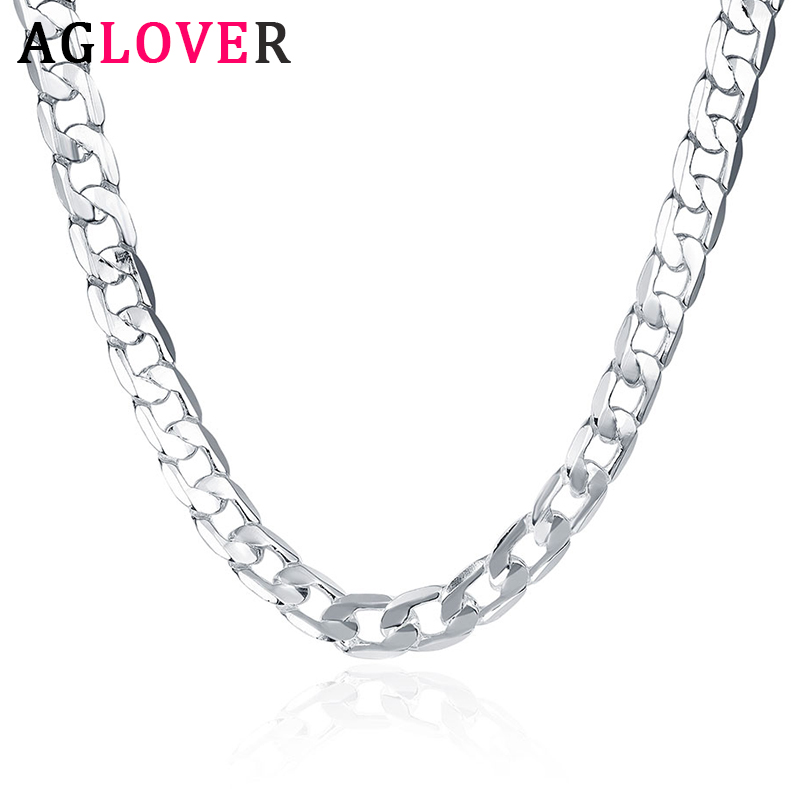 AGLOVER New 925 Sterling Silver 16/18/20/22/24 Inch 8MM Side Chain Necklace For Woman Man Fashion Charm Jewelry Gift