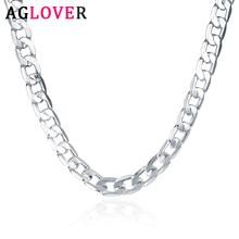AGLOVER Neue 925 Sterling Silber 16/18/20/22/24 Zoll 8MM Seite Kette Halskette Für Frau Mann Mode Charme Schmuck Geschenk