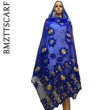 Новая африканская Женская шаль samll цветок дизайн вышивки большой шарф из тюли с бисером для создания своих прекрасных шалей BM622