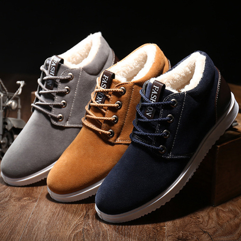 Warm Suede Boots Men 2020 Winter Classic Lace-Up Solid Color Sneakers Male Casual Thicken Blue Sports Running Cotton Shoes Man