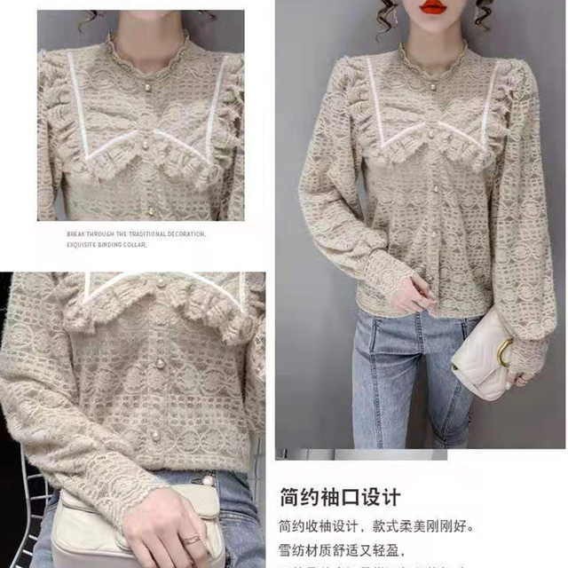 Women Spring Autumn Style Lace Blouses Shirts Lady Casual Long Sleeve Peter Pan Collar Lace Blusas Tops DF4013 4