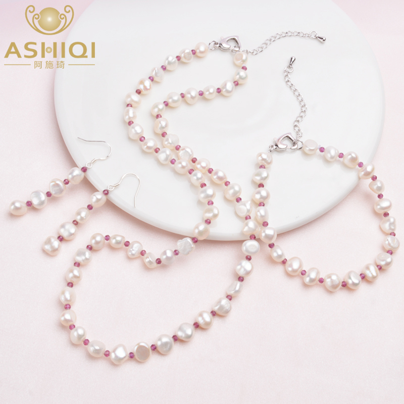 ASHIQI Natural Baroque Pearl Jewelry Sets Real Freshwater Pearl Necklace Natural Crystal Bracelet For Women New Arrival