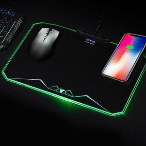 Игровая светодиодная RGB коврик для мыши Vococal, геймер, освещение, коврик для мыши, коврик с беспроводным зарядным устройством для компьютера, ...