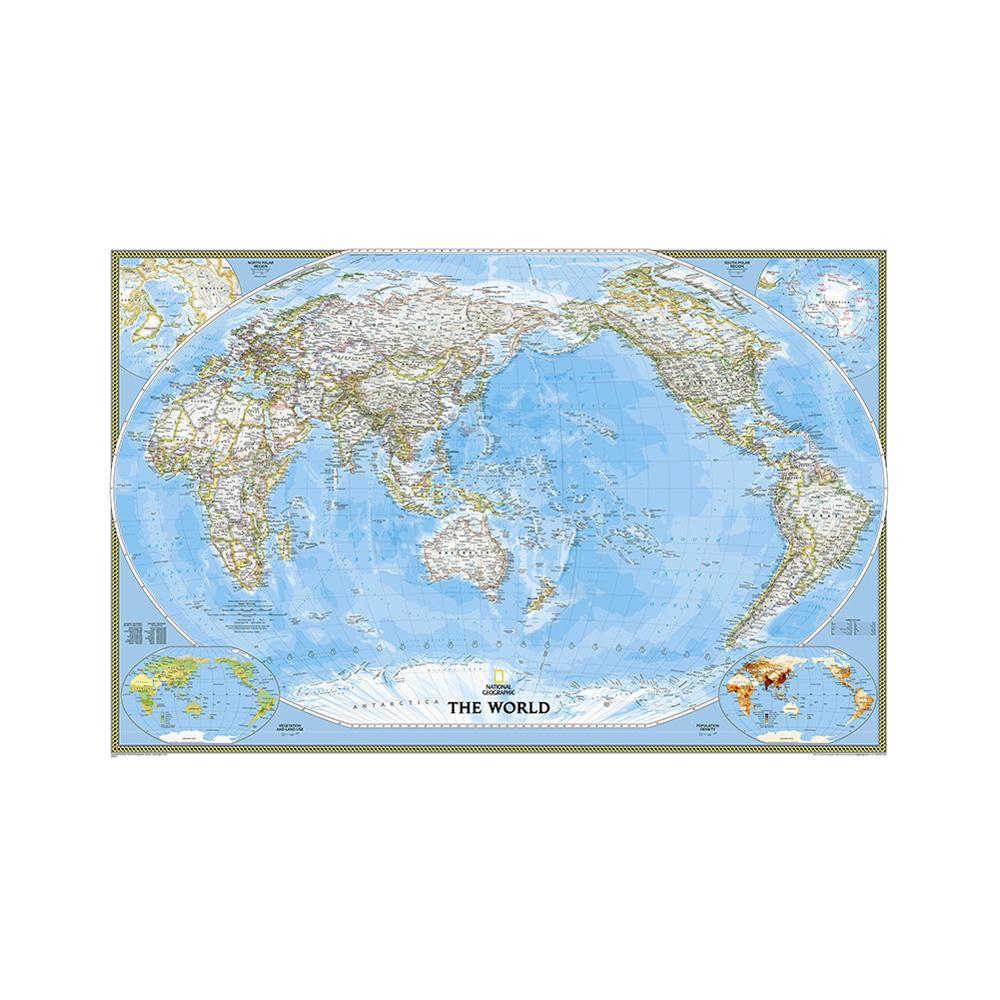 150x100cm Non-woven Waterproof World Map Mercator Projection World Map Without Flag