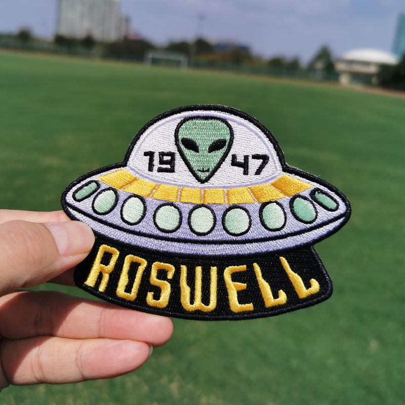 I Want To Leave UFO Patch Alien Roswell Embroidered Iron Sew On Badge Applique