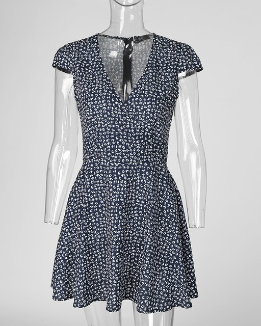 Floral Print Short Sleeve Wrap Dress