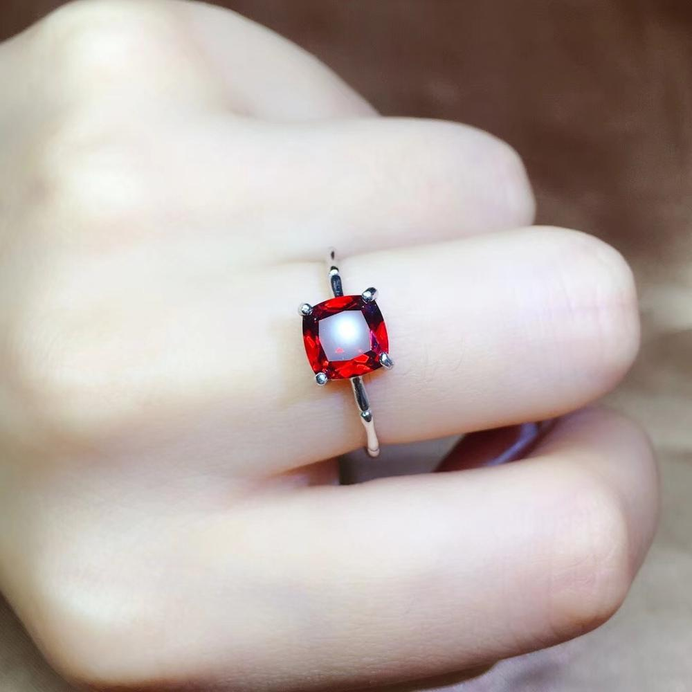 Simple Garnet Ring, Bamboo Style, Exquisite And Beautiful. 925 Sterling Silver, Package, Cheap