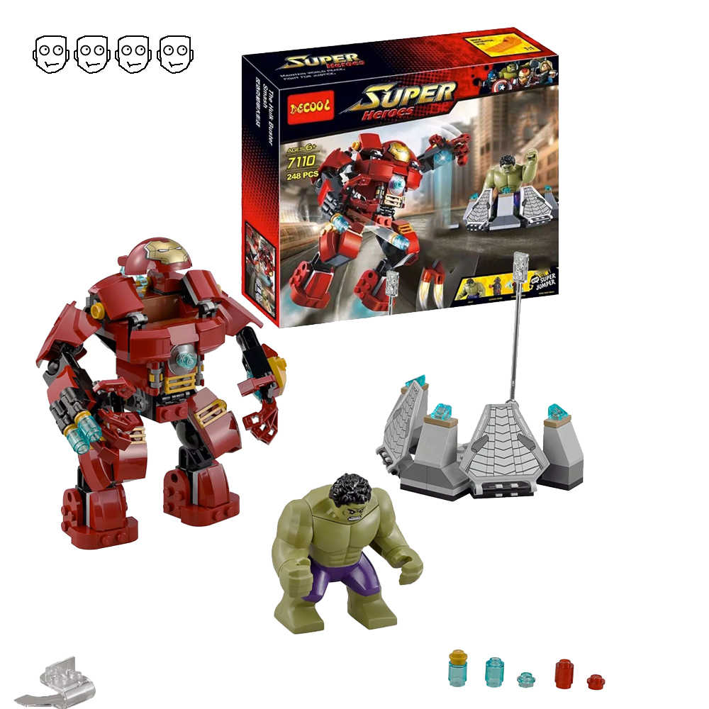 Decool 7110 Fit Marvel 76031 Super Heroes Avengers Hulk Buster Smash Set Ironman Mini Figures 248pcs Building Blocks Toys Gift