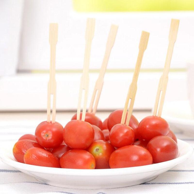 8000 pièces jetables bambou fruits fourchette fruits signe fête doigt nourriture mariage BBQ Buffet bâtons cuisine outils ZA6778