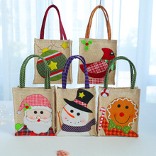 Christmas decorations linen sewing candy tote bag Santa Claus childrens cartoon gift bagchristmas for home