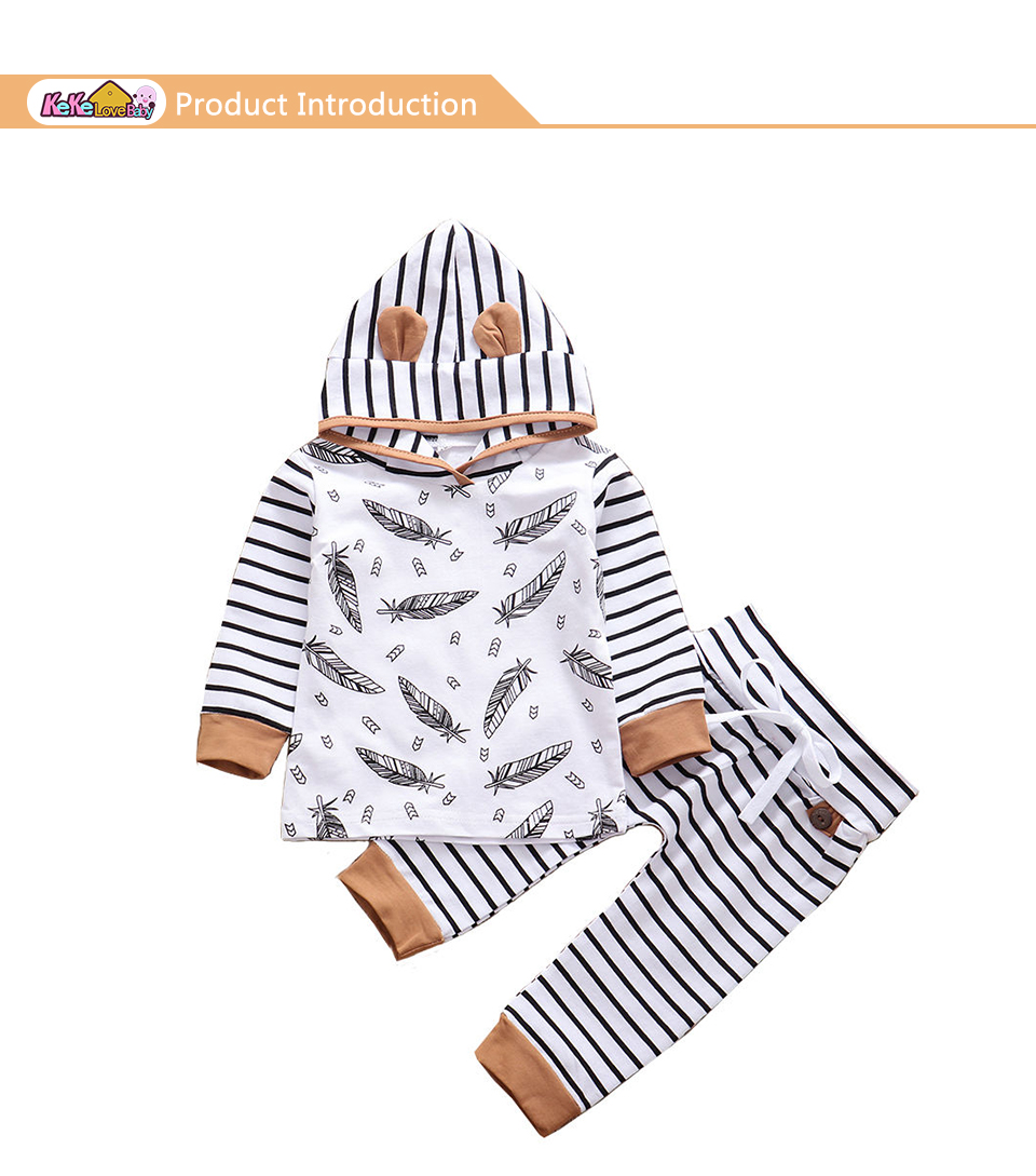 Infant Baby Boys Girls Hooded Feather T shirt Tops Striped Short Pant Clothes US