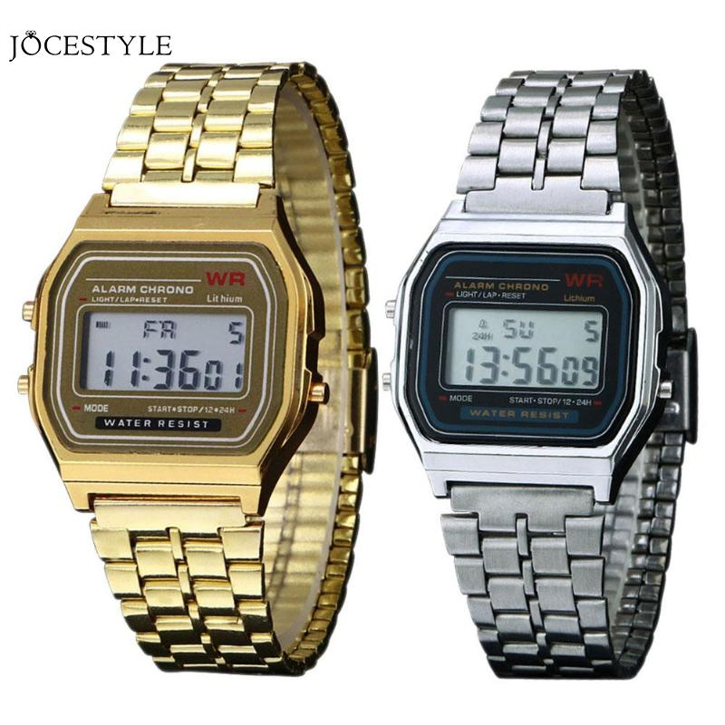 Watch Men Business Golden Gold Couple Watch Watch Stainless Steel Digital Clock relogio feminino Vintage Women Watches Men