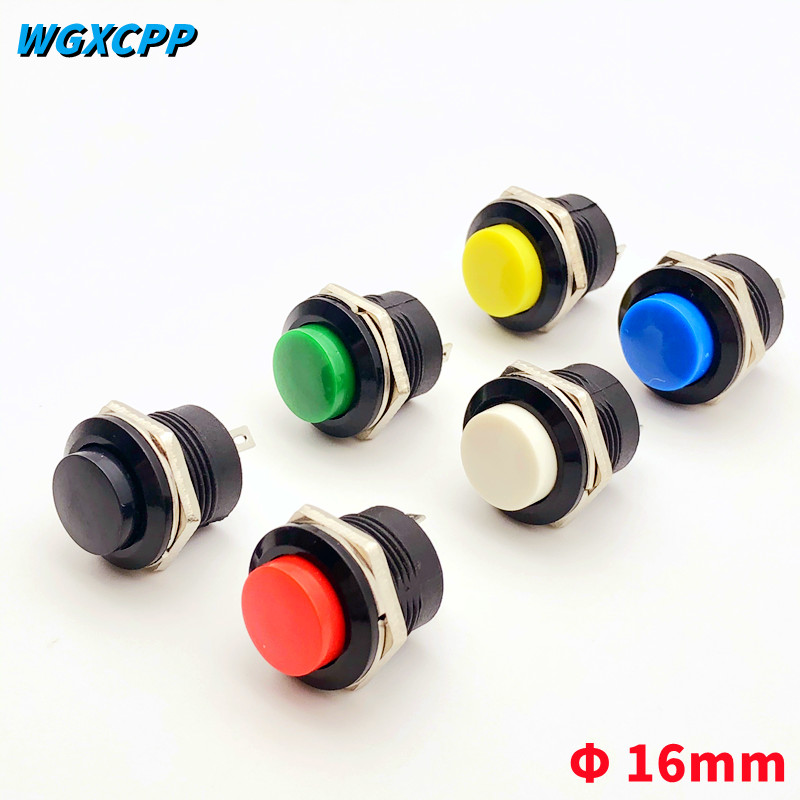 6PCS R13-507,Momentary,2 Pin,Mini Round Push Button Switch,Self-Reset,Electrical Equipment,16MM Panel Hole,3A 250VAC/6A 125VAC