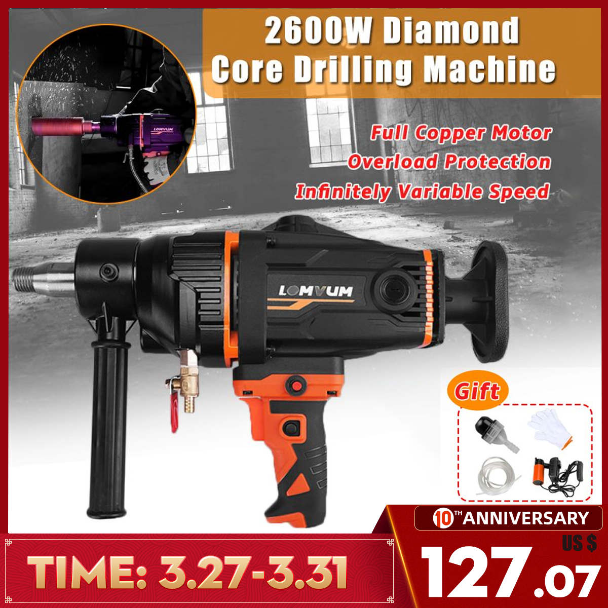 2600W 280mm Electric Diamond Core Drilling Machine High Power Handheld Concrete Core Drill Machine With Water Pump Accessories