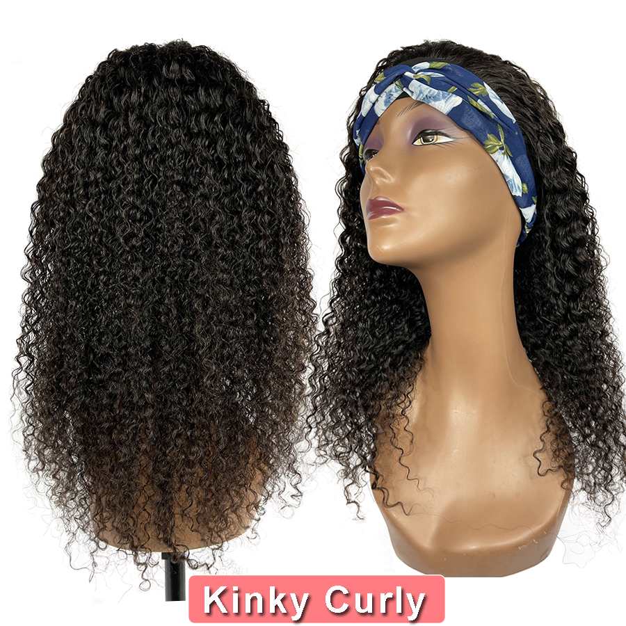 Wigs Headband Hair-Extension Vendors Glueless Kinky Curly Jerry Human Bangs Virgin Black