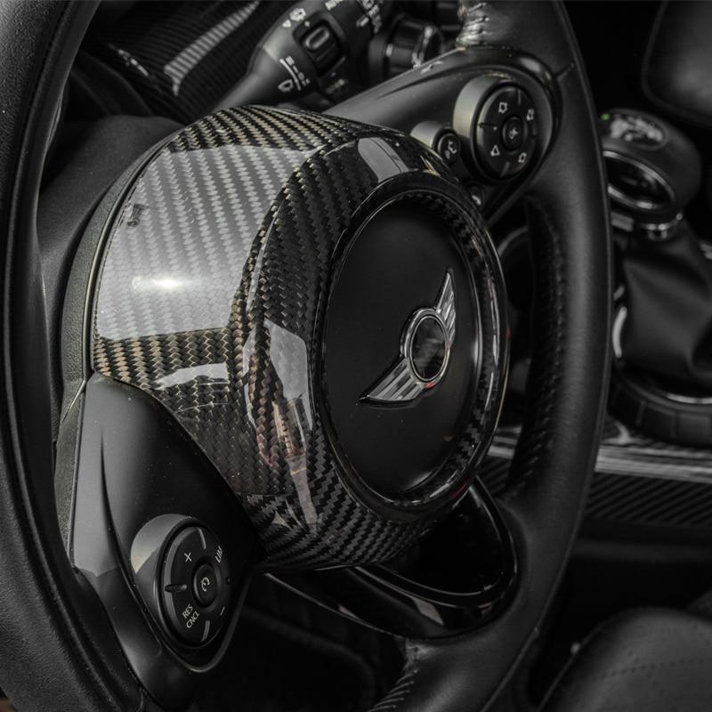 Carbon Fiber Modification Accessories Steering Wheel Center Decoration Car Styling For MINI COOPER Clubman S F54 F55 F56 F57 F60