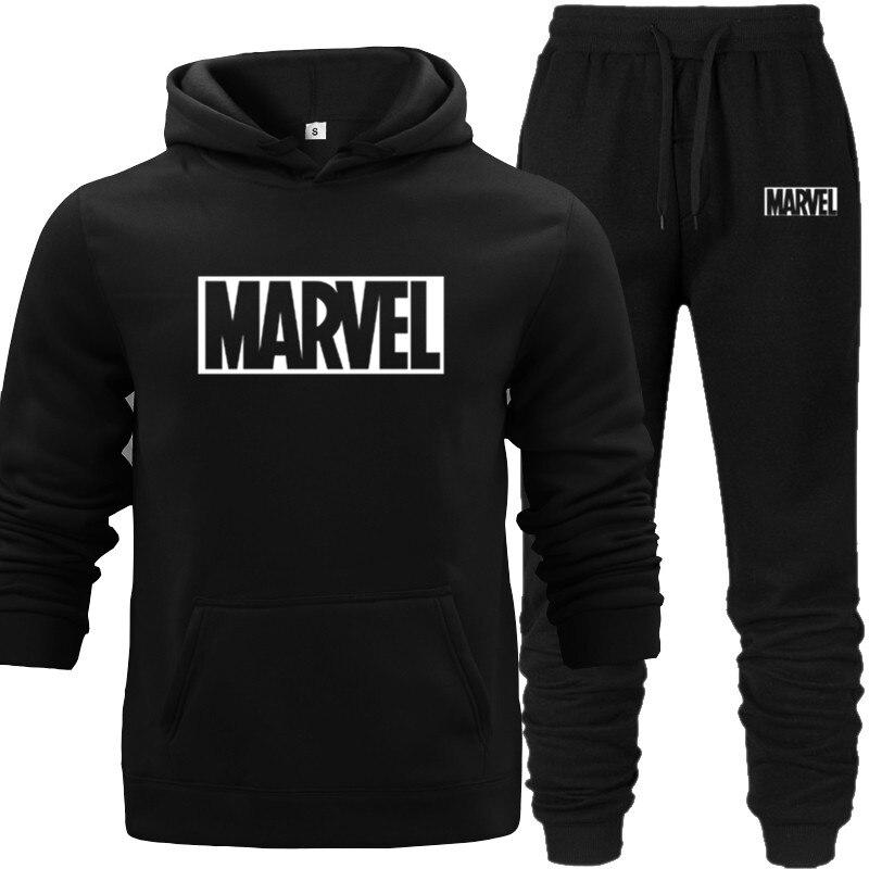 Casual MARVEL Print Cotton Hoodie+Pants 2019 Sporting Suit Tracksuit Men Thermal Men Sportswear Sets Sweatshirts Sport Suit Grey