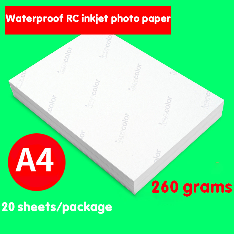 20 Sheets/pack A4 High Quality Photo Paper 260g Waterproof Glossy Photo Paper, Suitable For Household Color Inkjet Photo Printer