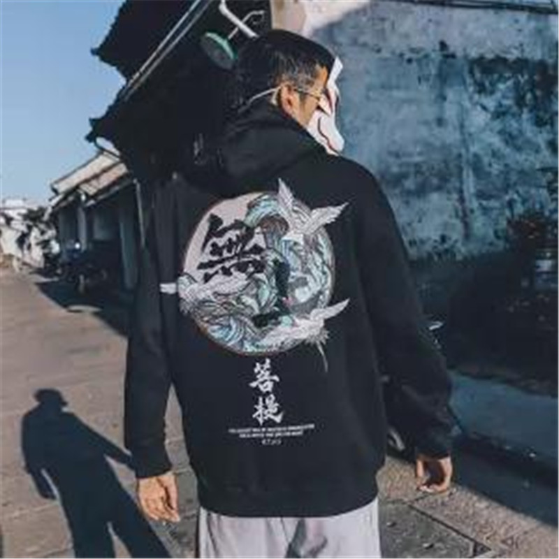 5XL Fashion Harajuku Hoodie Sweatshirt Mens Casual Black Hip Hop Japan Print Hoodie Streetwear Clothing Top Coat Winter Hoodie