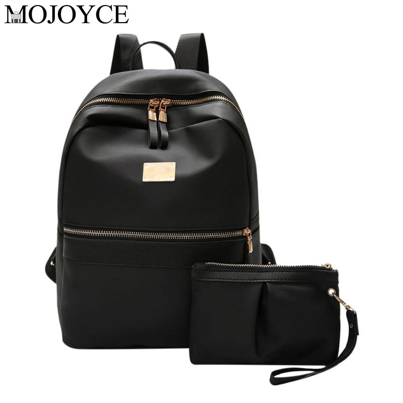 2pcs/set Fashion Casual Women Nylon Backpack Clutch Preppy Style Solid Color Student Shoulder Travel Schoolbags Purse