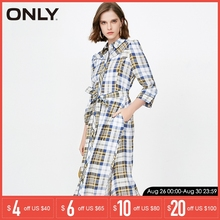 цена на ONLY 2019 Spring & Summer Women Cinched Waist Checked Dress |118207548
