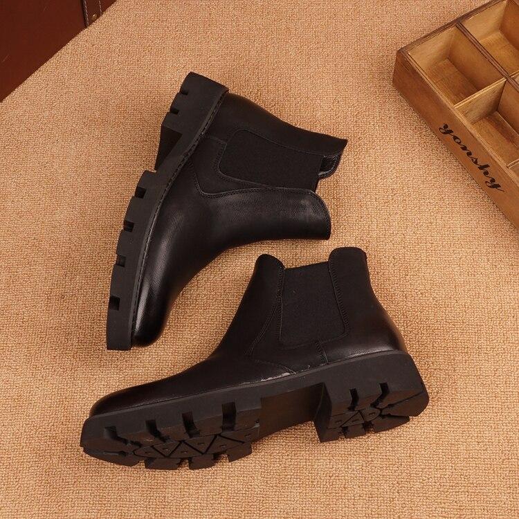 de couro genuíno bonito chelsea boot festa