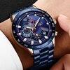 Lige 2020 nova moda dos homens relógios com aço inoxidável topo marca de luxo esportes cronógrafo relógio de quartzo masculino relogio masculino 5