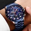 LIGE 2019 новые мужские часы с ремешком из нержавеющей стали , кварцевые наручные часы , военные часы с хронографом, мужские модные спортивные ча...