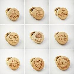 Персонализированные Имя Дата рустикальное свадебное деревянное кольцо коробка держатель на заказ Свадьба День святого Валентина помолвка...