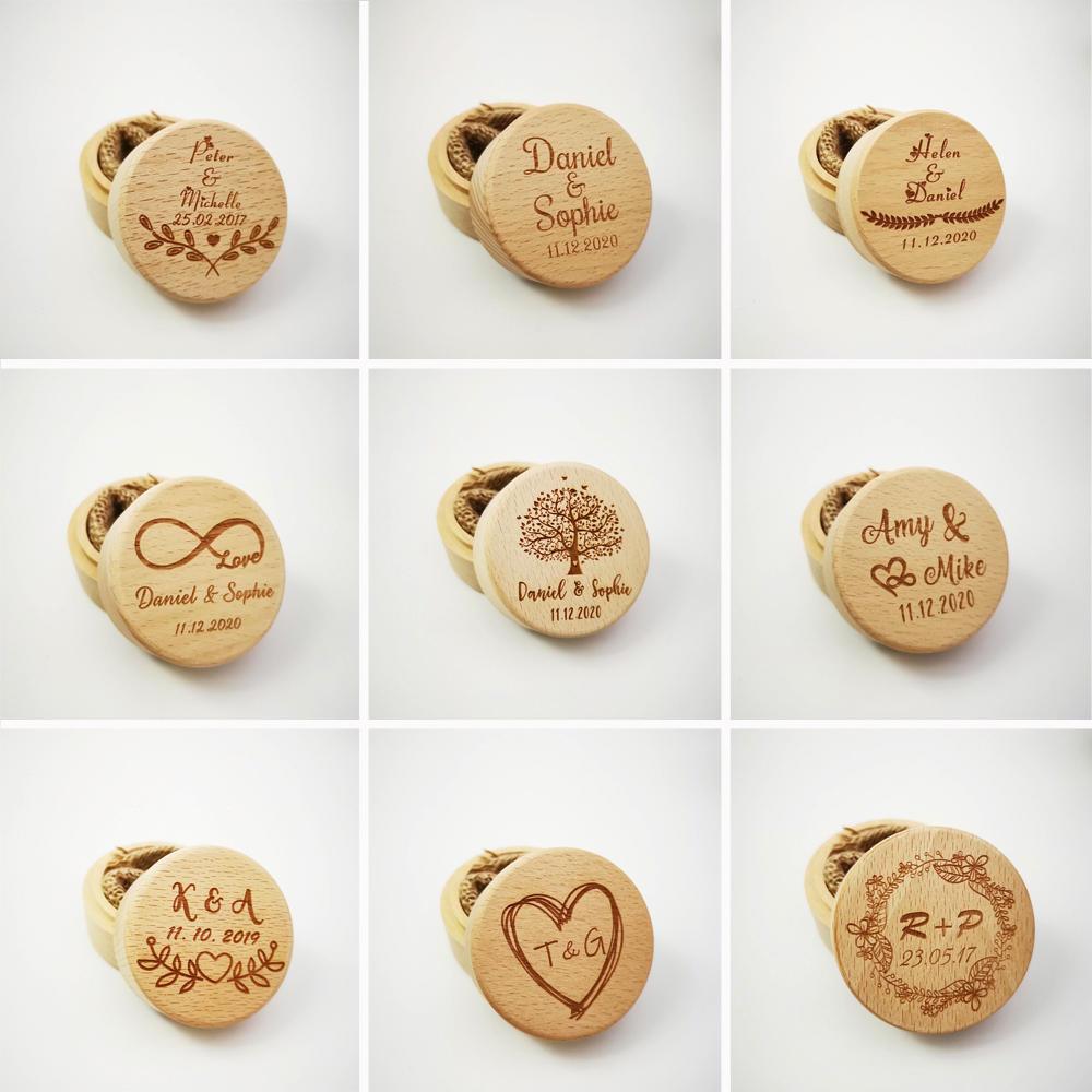 Personalized Name Date Rustic Wedding Wooden Ring Box Holder Custom Wedding Valentine Engagement Anniversary Ring Bearer Box