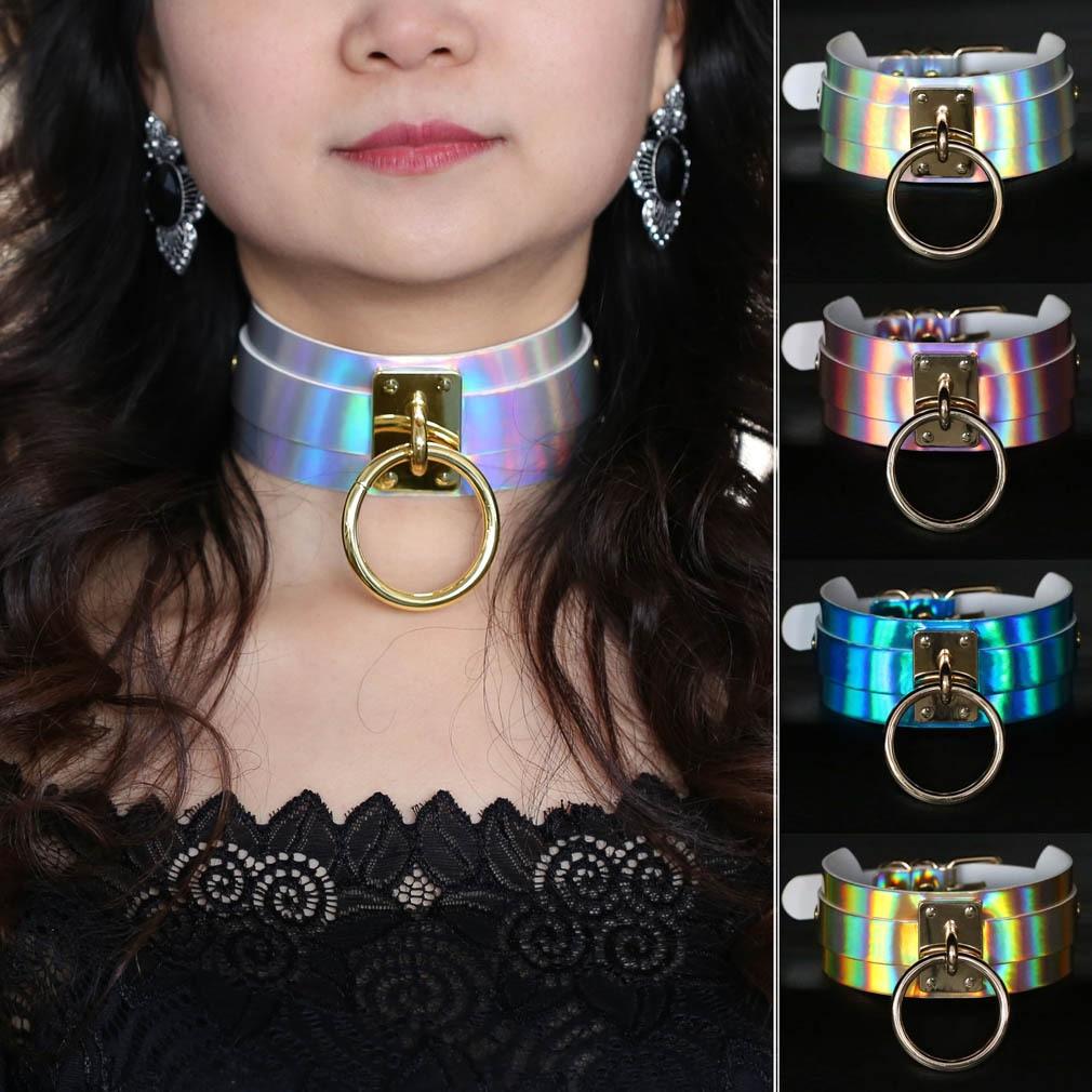 Europe And America Harajuku-Style Street Snap Nightclub Wide Laser Leather Necklace Neck Ring Big Ring Circle Bound-Neck Bandana