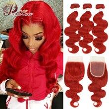Pinshair kırmızı vücut dalga demetleri ile kapatma kırmızı 99J bordo demetleri perulu İnsan saç kapatma ile 3 demetleri Remy saç 10 26