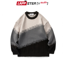 Pullover Sweaters Vintage Clothes Lappster-Youth Oversized Patchwork Harajuku Men Winter