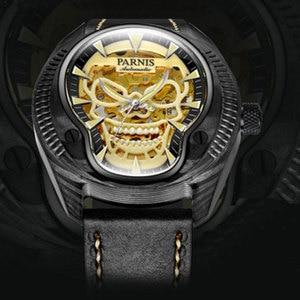 Image 4 - Marca de luxo parnis commander série luminosa caixa de aço masculino pulseira de couro automático auto vento relógio de pulso mecânico