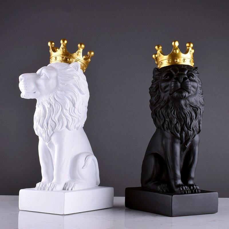 Nordique Ins résine couronne Lion ornements artisanat accessoires maison salon Tabel Figurine bureau bureau Statue décoration cadeaux Art