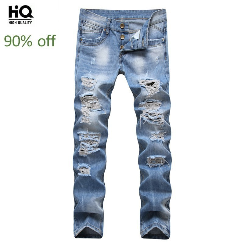2020 New Mens Jeans Casual Hole Ripped Straight Long Denim Pants Light Blue Washed Biker Trousers Cowboy Party Wear Young Man