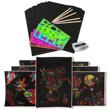 50 Sheets Scratch DIY Art Crafts for Kids Black Paper Magic Rainbow Painting Boards with Stylus Drawing Gift for Children 60 pieces blank boards plywood sheets for crafts models