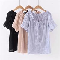 Larger Korean Wool Button Black Shirt Zwart & Roze & Viret Gestreepte T shirt Vrouwen Top Tshirt Zomer T shirt