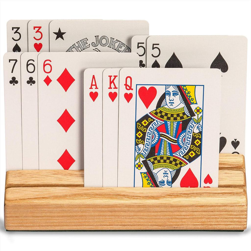 Trapezoid Wooden Playing Card Holder Hand Free Playing Cards Organizer Base For Children Adults Pocker Cards Accessories