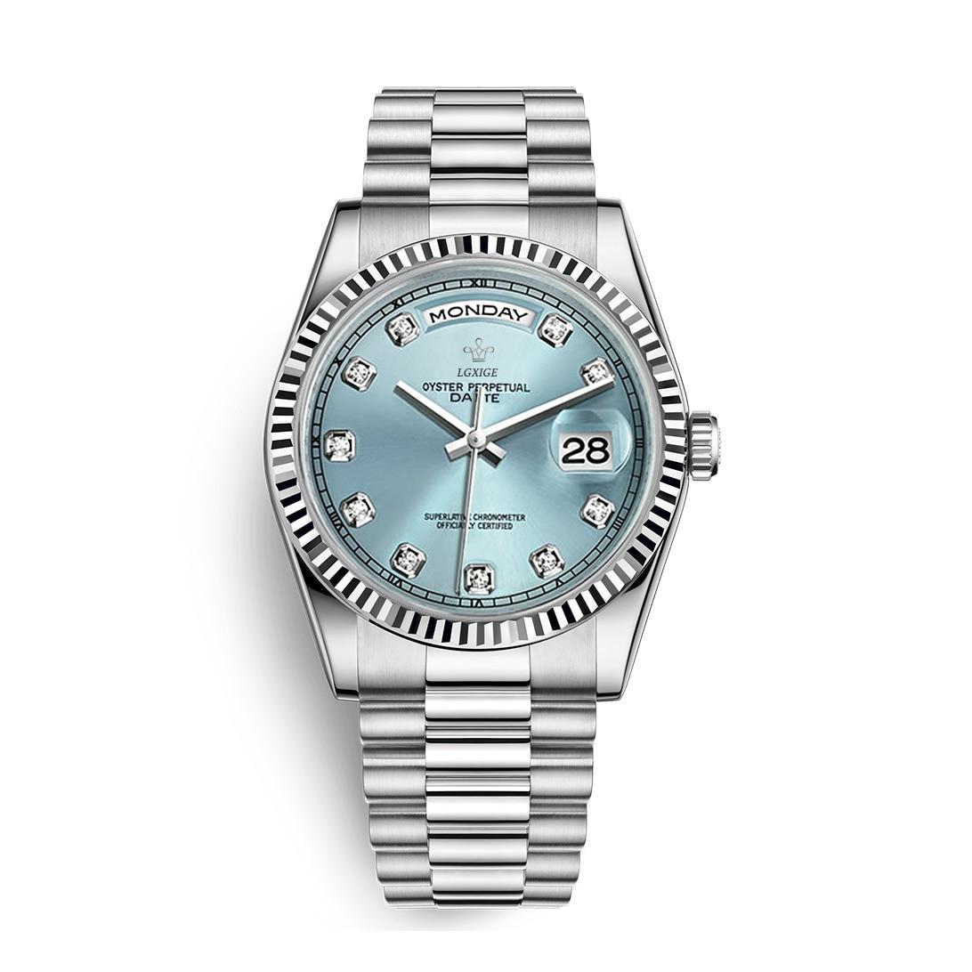 Blue Casual Mens Watch Top Brand Luxury Diamonds Stainless Steel Fashion Watch Men Quartz Waterproof Business Men Wrist Clock